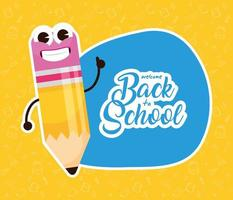 Back to school poster with kawaii pencil character vector