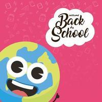 composición de regreso a la escuela con carácter kawaii vector