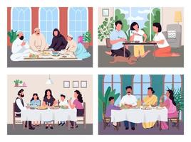 Traditional lunch for family vector