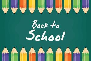 Back to school poster with colored pencils vector