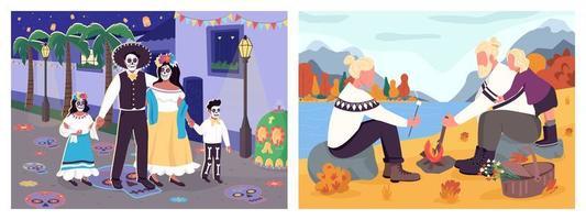 actividades familiares de otoño vector