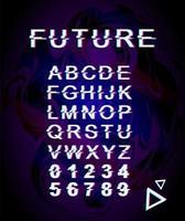 Future glitch font template vector