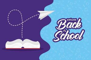 Back to school poster with book vector