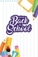 Back to school poster with school materials