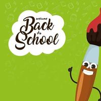 Back to school composition with kawaii character vector
