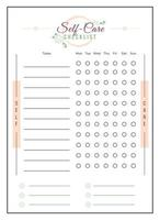Self care checklist minimalist planner page design