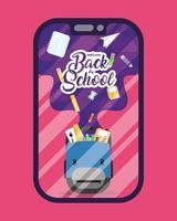 banner de regreso a la escuela, e-learning y educación en línea vector