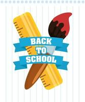 Back to school poster with school supplies vector