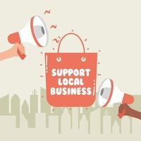 Apoyar la campaña comercial local con megáfonos.