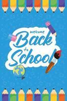 cartel de regreso a la escuela con lápices de colores vector