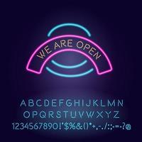 estamos abiertos luz de neón vector