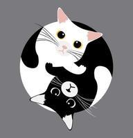 gatos yin yang duermen vector