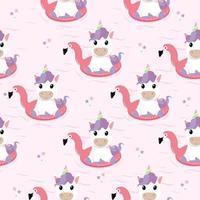 Unicorn Summer flamingo float swimming pool ring pattern vector