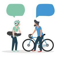 mans habla con burbujas de discurso vector