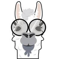 cabeza de alpaca divertido vector