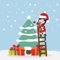 small girl  with tree Christmas vector