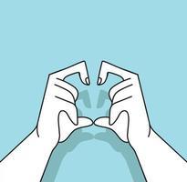 manos con vector de corazón en forma