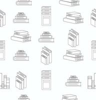 Stack of Books White Flat Design Seamless