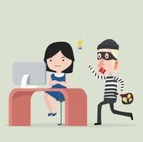 Thief  stealing idea from a woman vector