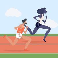 Hombre y mujer atractiva corriendo en hipódromo