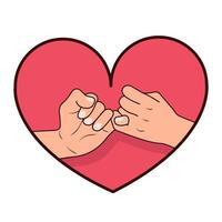 mano meñique promesa con forma de corazón