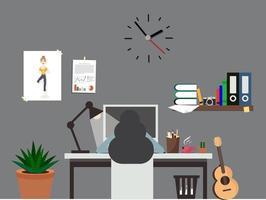 mujer, trabajo, oficina, habitación, interior, espacio de trabajo vector
