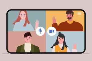 concepto mundial de conferencia de video llamada de personas vector