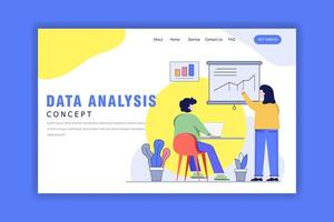 Landing Page Template With Data Analysis Concept vector