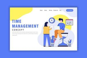 Landing Page Template With Time Management Concept vector