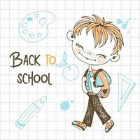 Cute red-haired boy with a school backpack vector