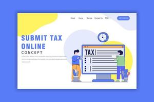 Flat Design Concept of Online Submit Tax Landing Page vector