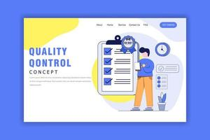 Flat Design Concept of Quality Control Landing Page