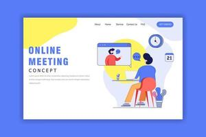 concepto de diseño plano de reunión en línea vector
