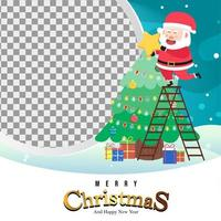 Merry Christmas Background with cute santa and tree vector