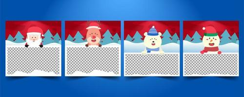 Set of Merry Christmas Social media templates