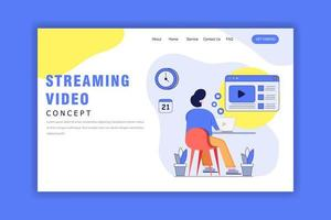 Flat Design Concept of Streaming Video, Social Media vector
