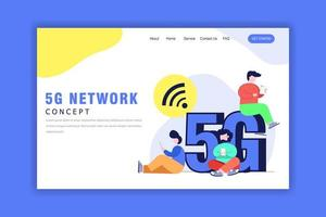 Flat Design Concept Of 5G Network vector