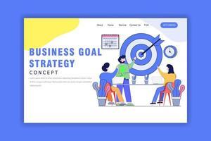 concepto de diseño plano de la estrategia de objetivos comerciales