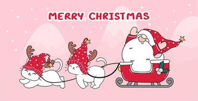 Cute cat and Santa in sleigh for Christmas vector