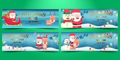Christmas Banner Super Flash Sale Bundle Flat Design vector
