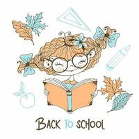 Cute red-haired girl with pigtails reading a book. vector