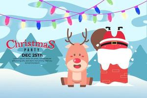 Christmas Party Background with sitting deer and Santa Claus vector