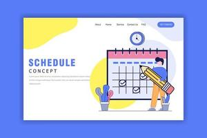 Flat Design Concept of Schedule Landing Page