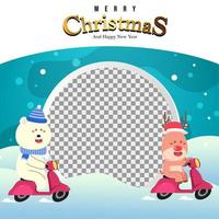 Merry Christmas Background with Polar Bear and Reindeer vector