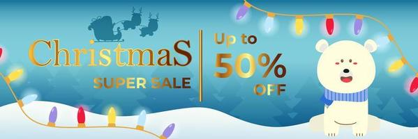 Christmas Banner Super Sale Up To 50 Percent vector