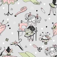 Seamless pattern with cute little dressmaker