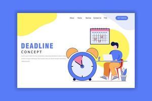 Flat Design Concept of Deadline Landing Page vector