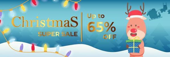 banner navideño super venta hasta 65 por ciento con renos