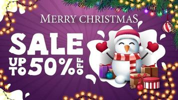 Purple discount banner with snowman