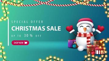 Green Christmas discount banner with pink button vector